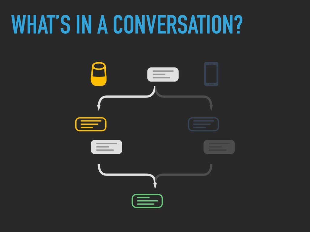 WHAT'S IN A CONVERSATION?