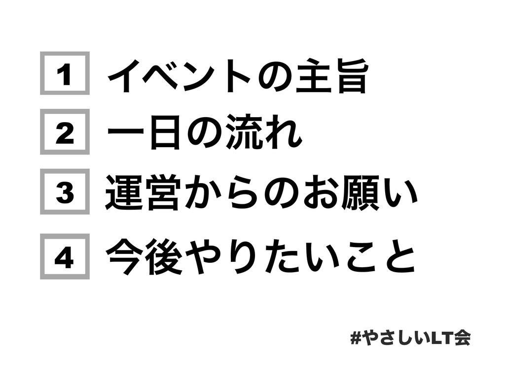 Πϕϯτͷओࢫ #͍͞͠LTձ 1 2 3 4 ӡӦ͔Βͷ͓ئ͍ ࠓޙΓ͍ͨ͜ͱ ҰͷྲྀΕ
