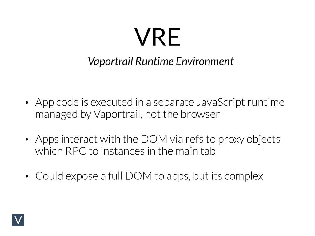 VRE Vaportrail Runtime Environment • App code i...