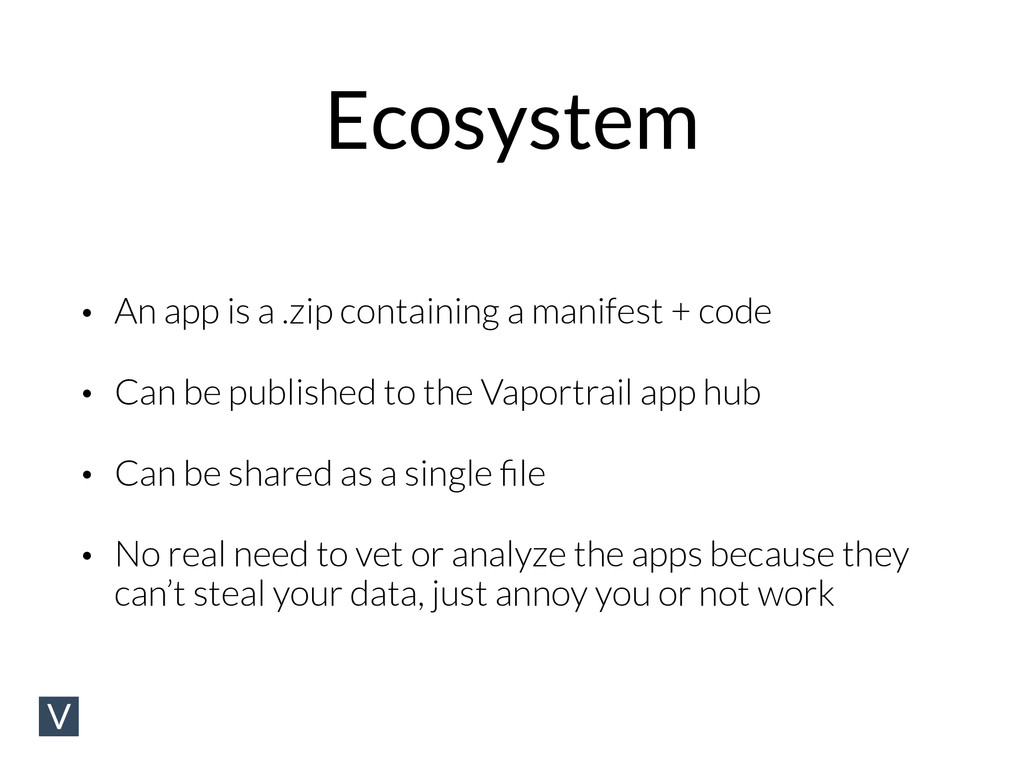 Ecosystem • An app is a .zip containing a manif...
