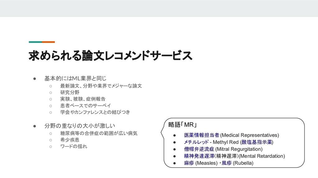 求められる論文レコメンドサービス ● 基本的にはML業界と同じ ○ 最新論文、分野や業界でメジ...