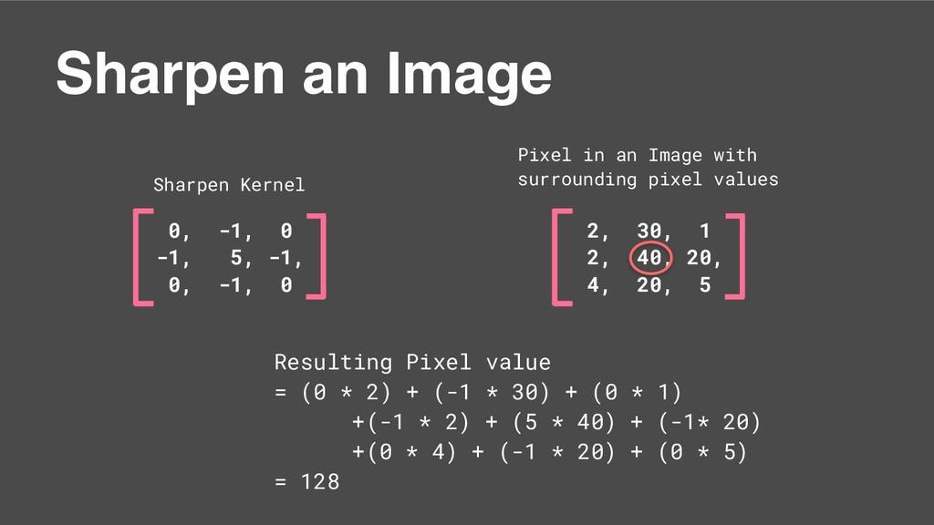 0, -1, 0 -1, 5, -1, 0, -1, 0 Sharpen an Image S...
