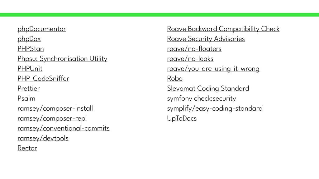 phpDocumentor   phpDox   PHPStan   Phpsu: Synch...