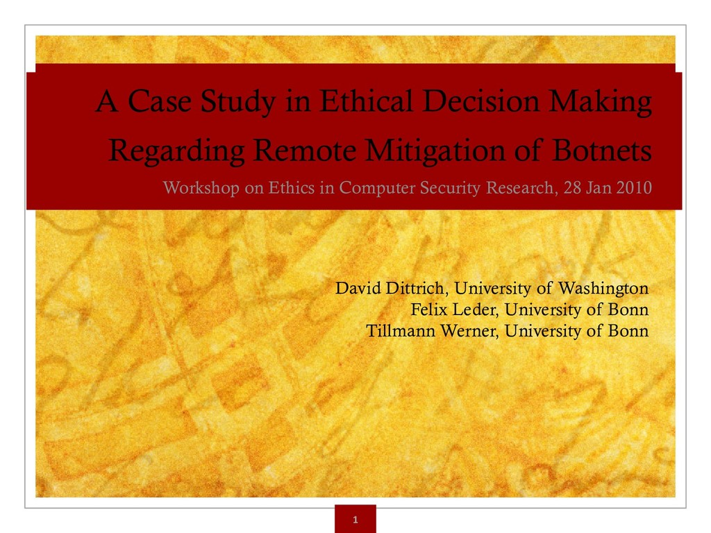 A Case Study in Ethical Decision Making Regardi...