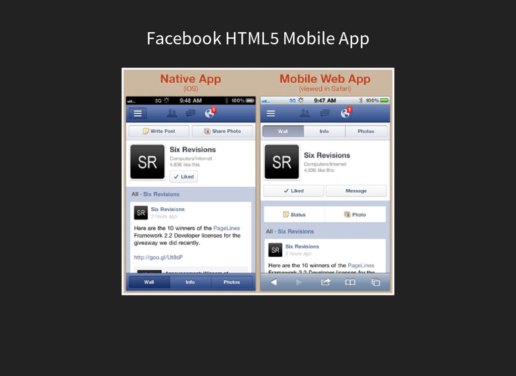 Facebook HTML5 Mobile App