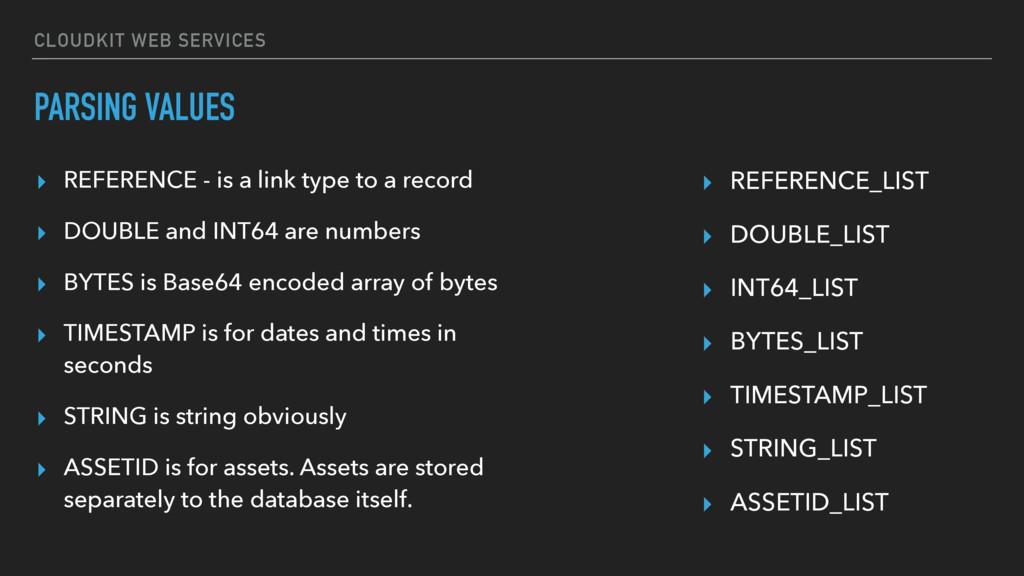 CLOUDKIT WEB SERVICES PARSING VALUES ▸ REFERENC...
