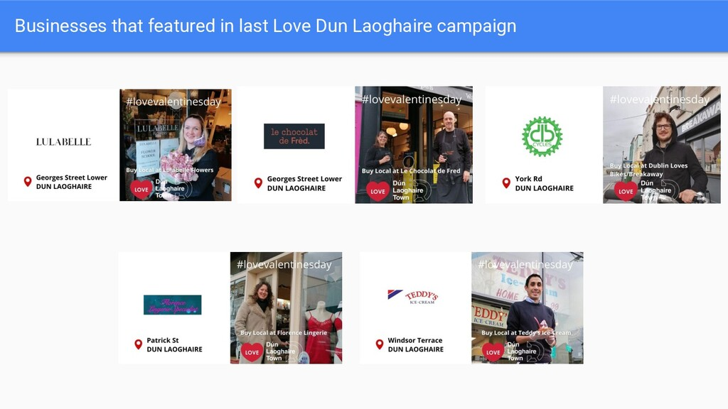 Businesses that featured in last Love Dun Laogh...