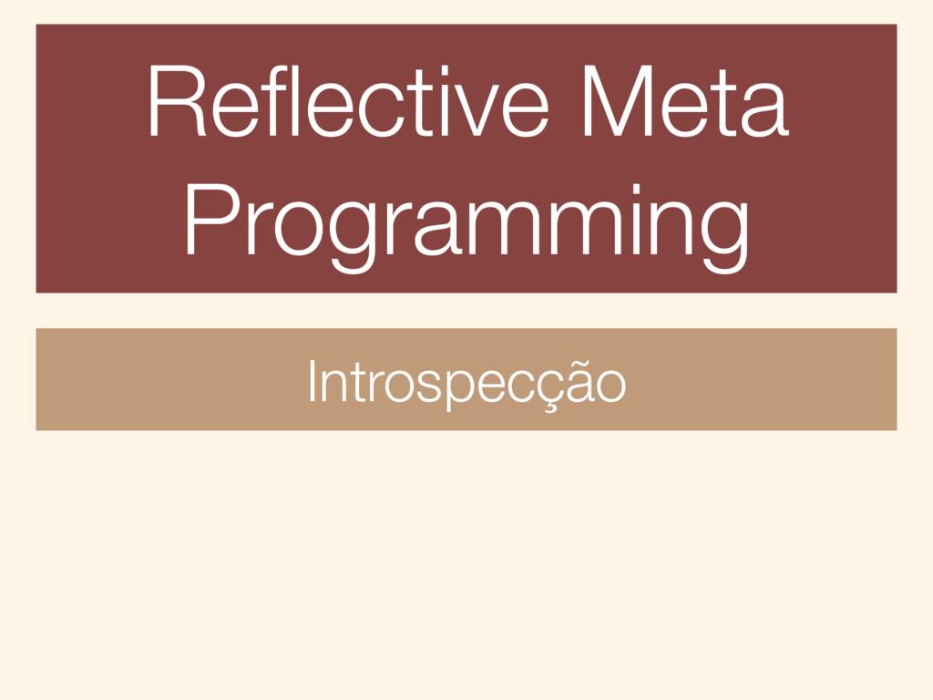 Reflective Meta Programming Introspecção