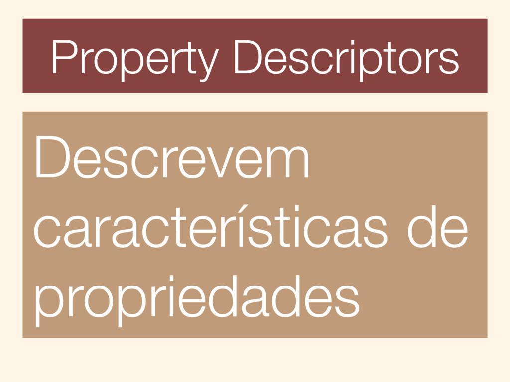 Property Descriptors Descrevem características ...