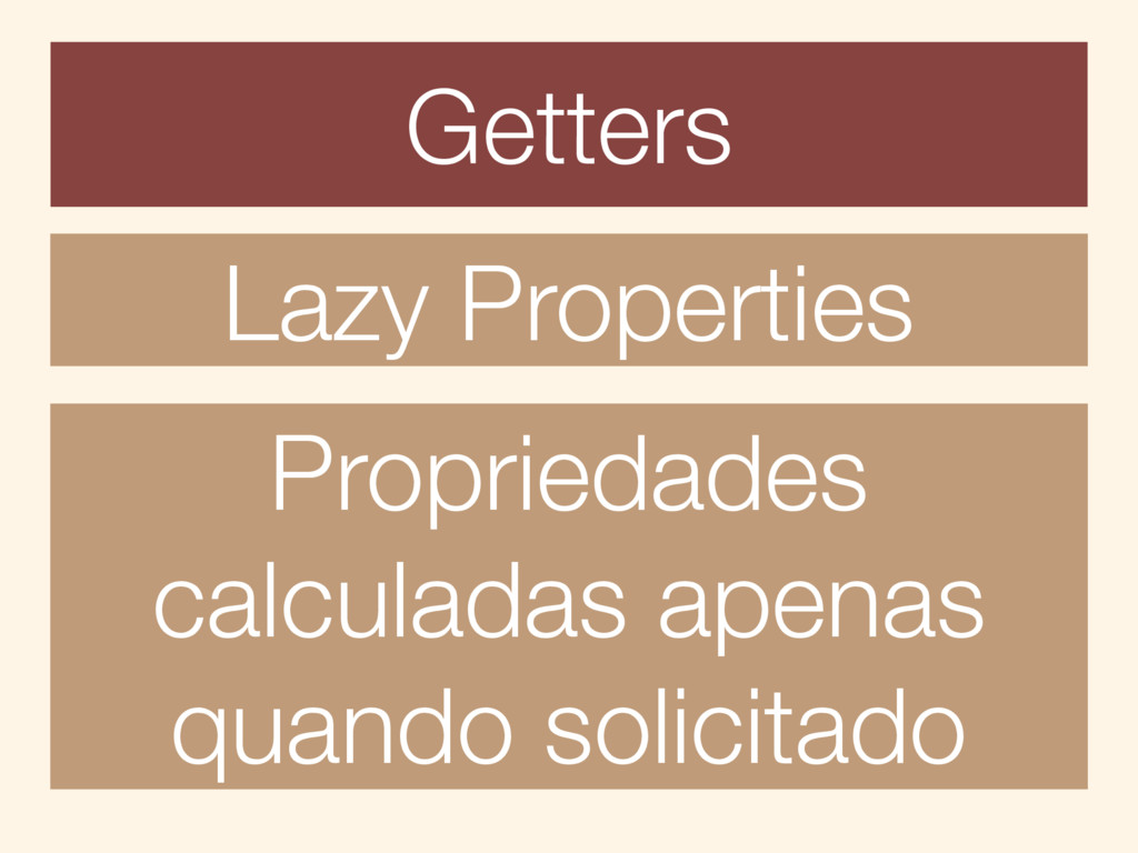 Getters Lazy Properties Propriedades calculadas...