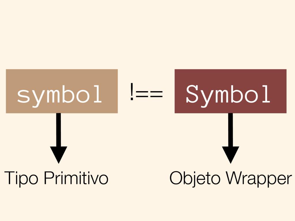 symbol Symbol !== Tipo Primitivo Objeto Wrapper
