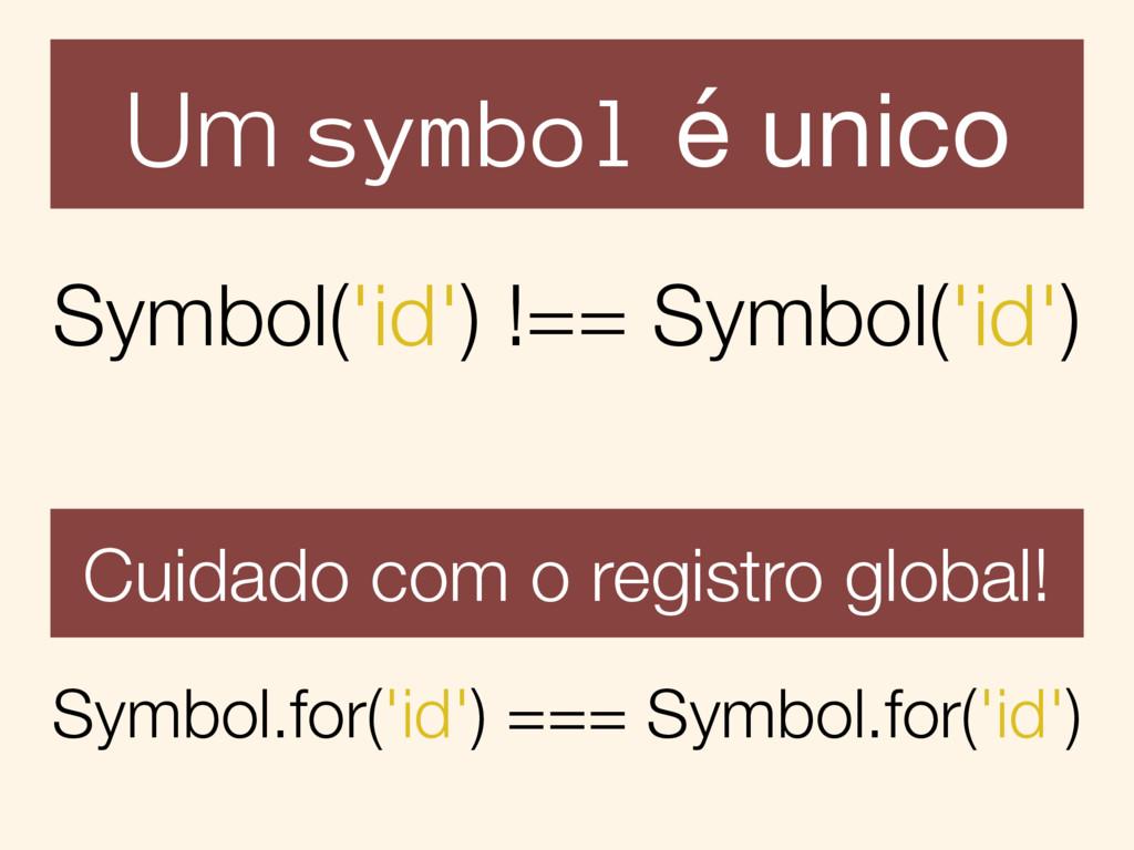 Um symbol é unico Symbol('id') !== Symbol('id')...