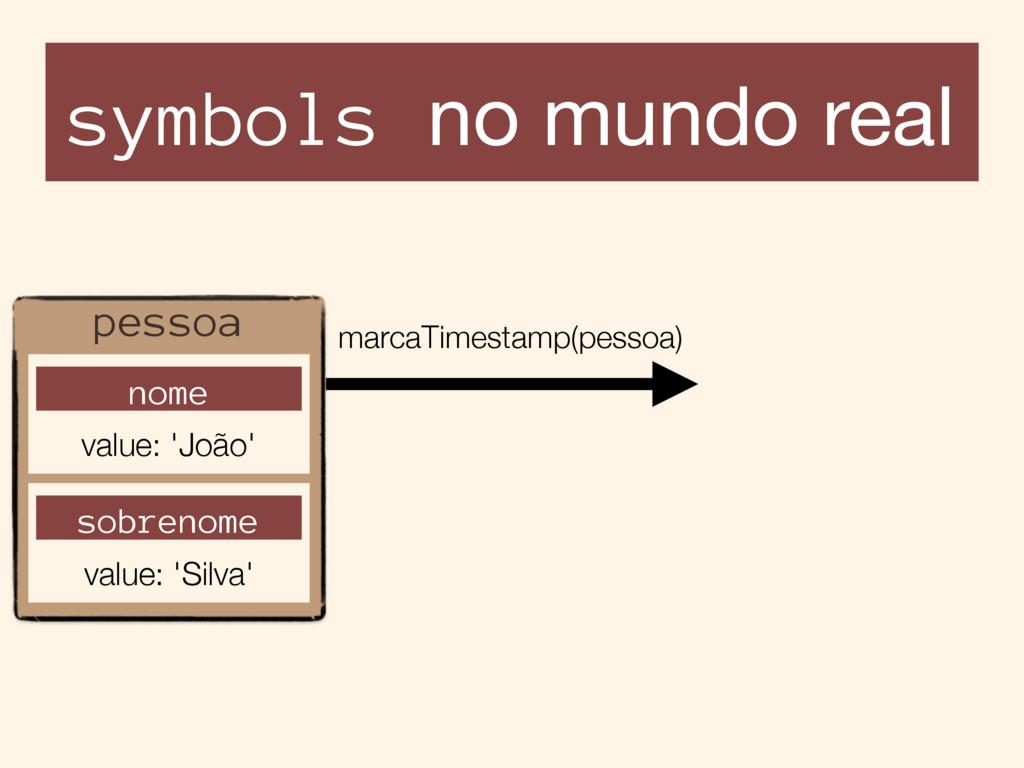symbols no mundo real pessoa nome value: 'João'...