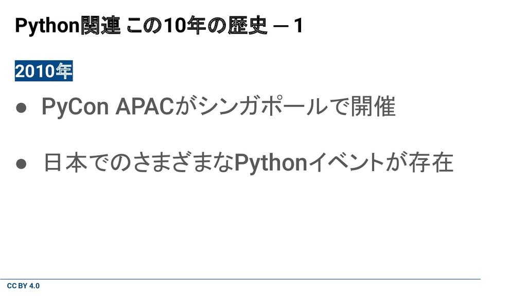 CC BY 4.0 Python関連 この10年の歴史 ─ 1 2010年 ● PyCon A...