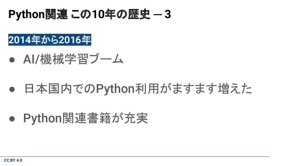 CC BY 4.0 Python関連 この10年の歴史 ─ 3 2014年から2016年 ● ...