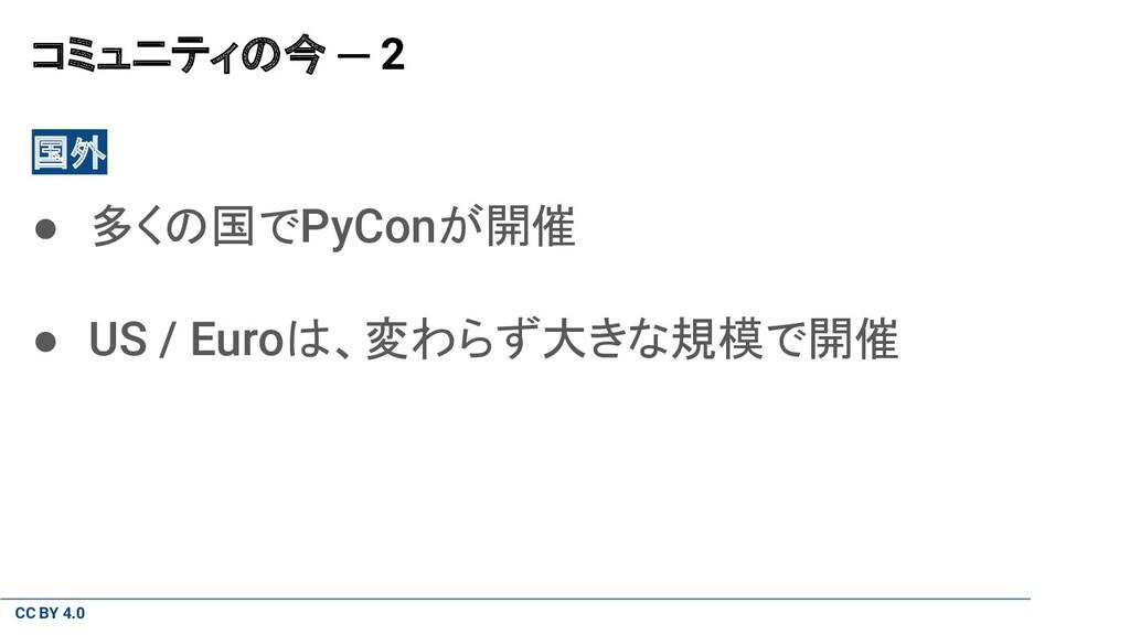 CC BY 4.0 コミュニティの今 ─ 2 国外 ● 多くの国でPyConが開催 ● US ...