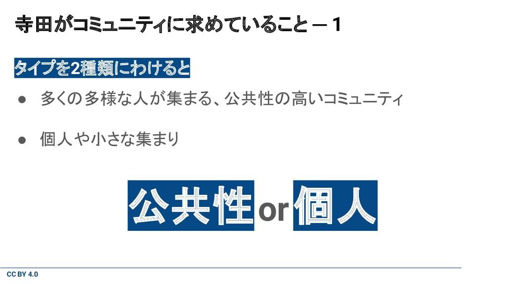CC BY 4.0 寺田がコミュニティに求めていること ─ 1 タイプを2種類にわけると ● ...