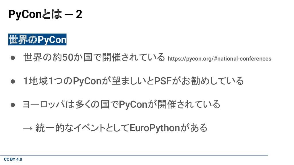 CC BY 4.0 PyConとは ─ 2 世界のPyCon ● 世界の約50か国で開催されて...