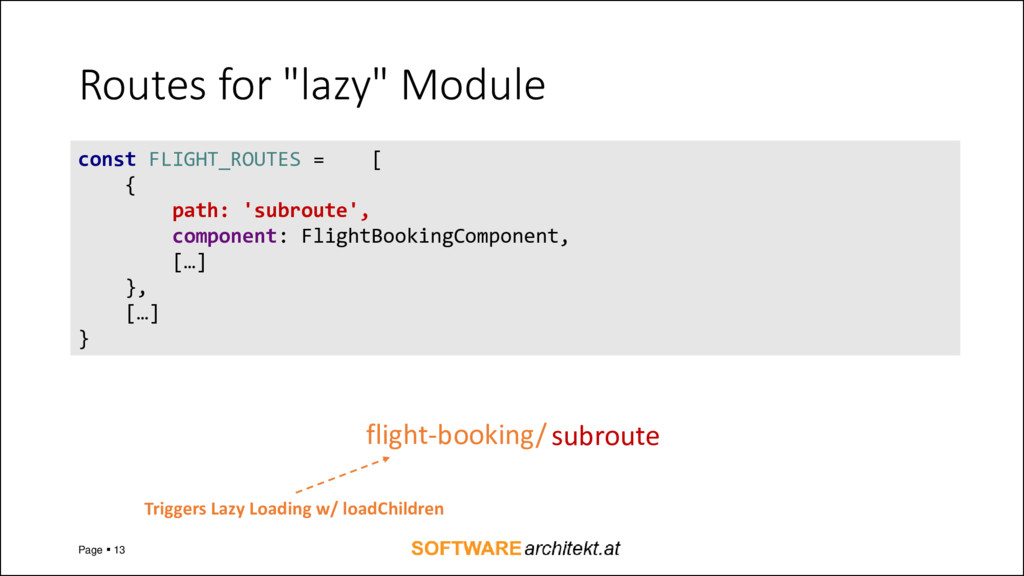 "Routes for ""lazy"" Module Page ▪ 13 const FLIGHT..."