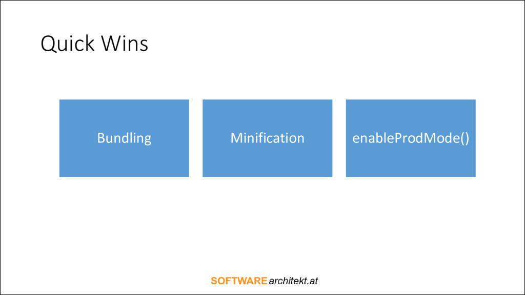 Quick Wins Bundling Minification enableProdMode...