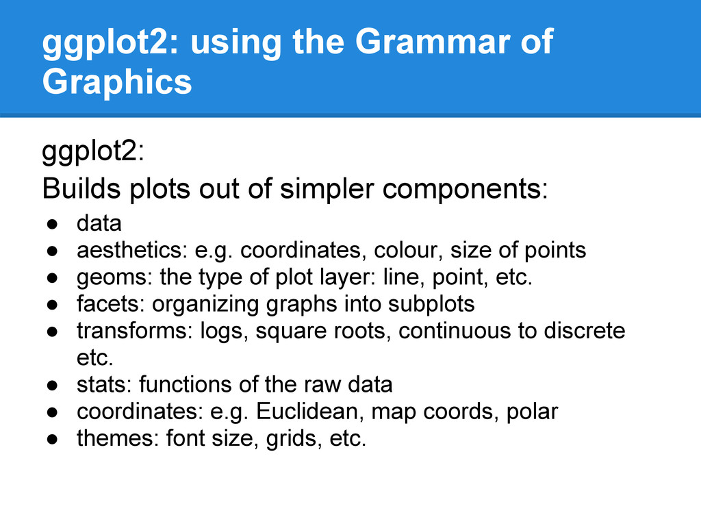 ggplot2: using the Grammar of Graphics ggplot2:...