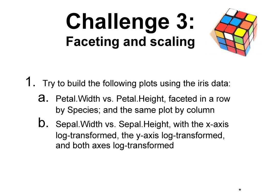 * Challenge 3: Faceting and scaling 1. Try to b...