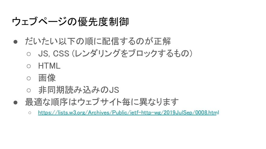 ウェブページの優先度制御 ● だいたい以下の順に配信するのが正解 ○ JS, CSS (レ...