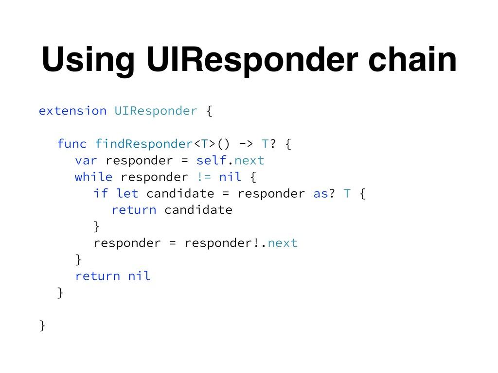 Using UIResponder chain extension UIResponder {...