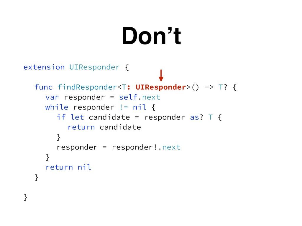 Don't extension UIResponder { func findResponde...