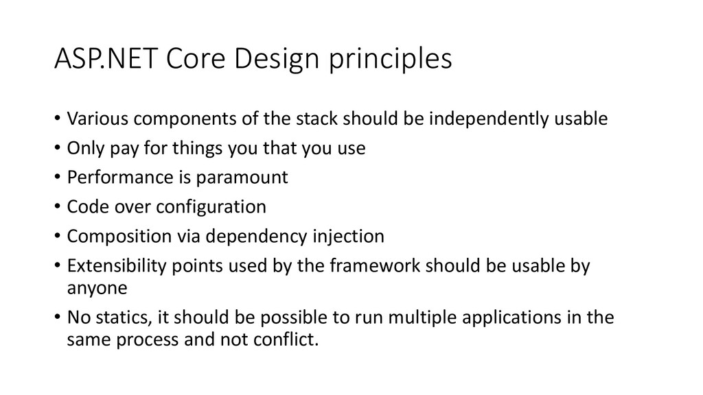 ASP.NET Core Design principles • Various compon...