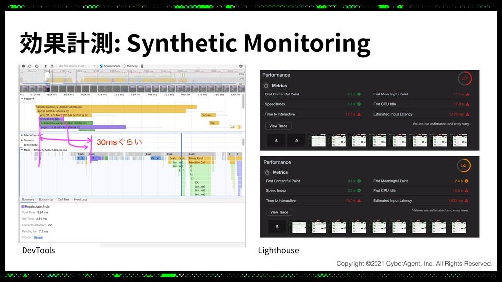効果計測: Synthetic Monitoring DevTools Lighthouse