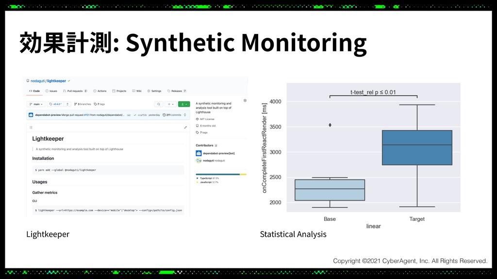 効果計測: Synthetic Monitoring Lightkeeper Statisti...