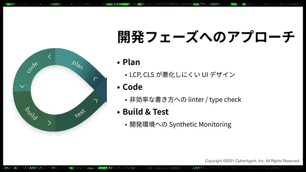 開発フェーズへのアプローチ • Plan   • LCP, CLS が悪化しにくい UI デザ...