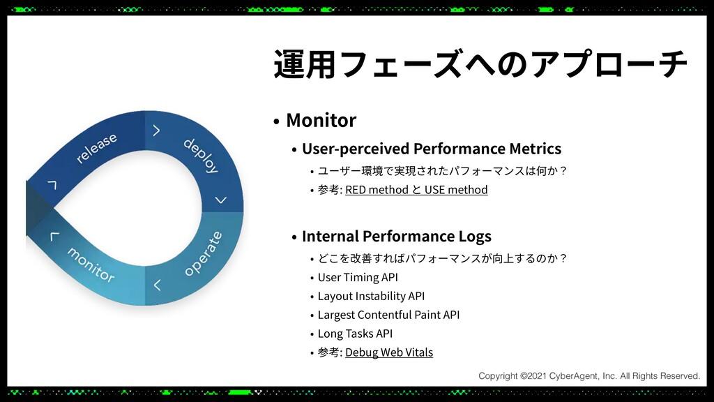 運⽤フェーズへのアプローチ • Monitor   • User-perceived Perf...