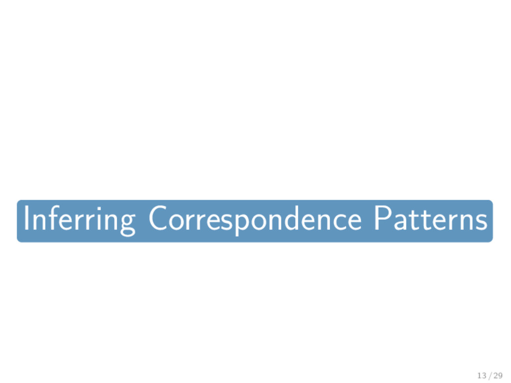 Inferring Correspondence Patterns 13 / 29