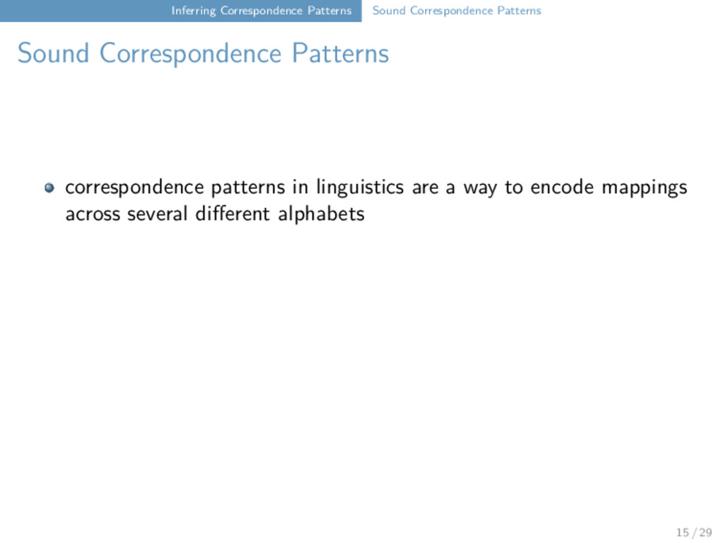 Inferring Correspondence Patterns Sound Corresp...