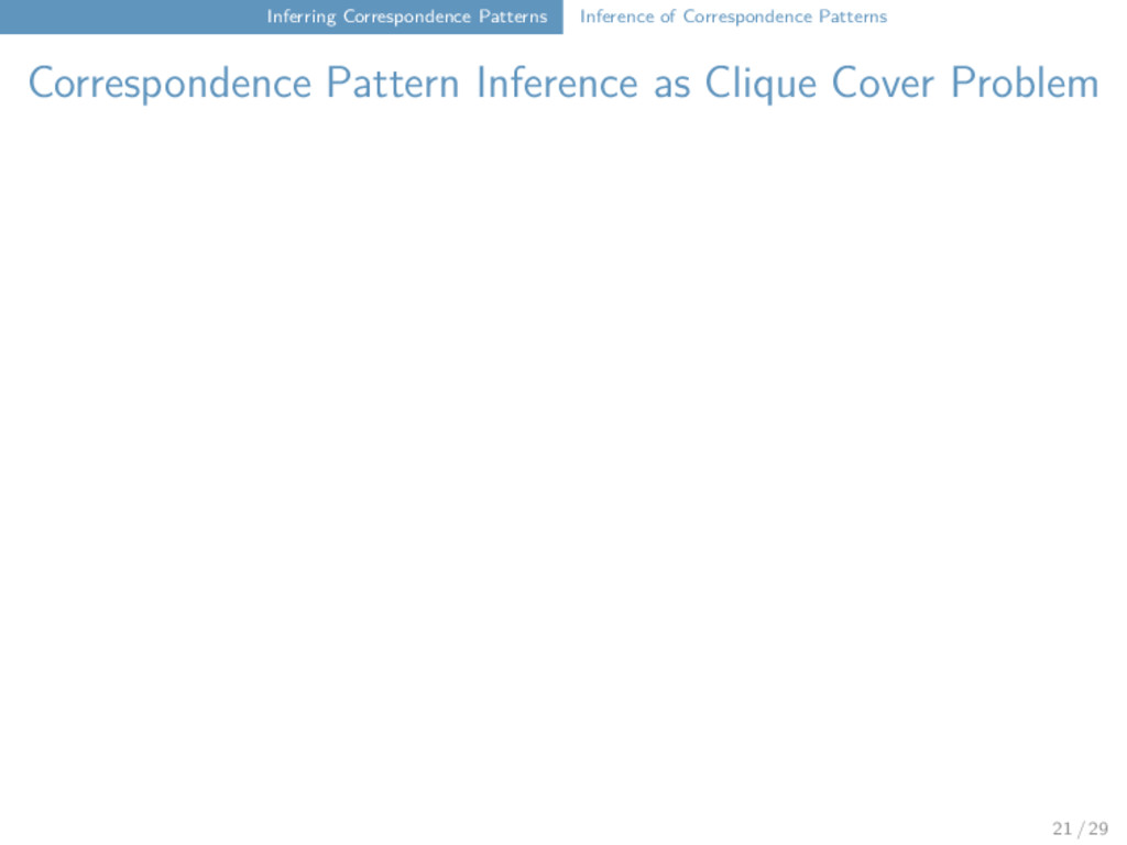Inferring Correspondence Patterns Inference of ...