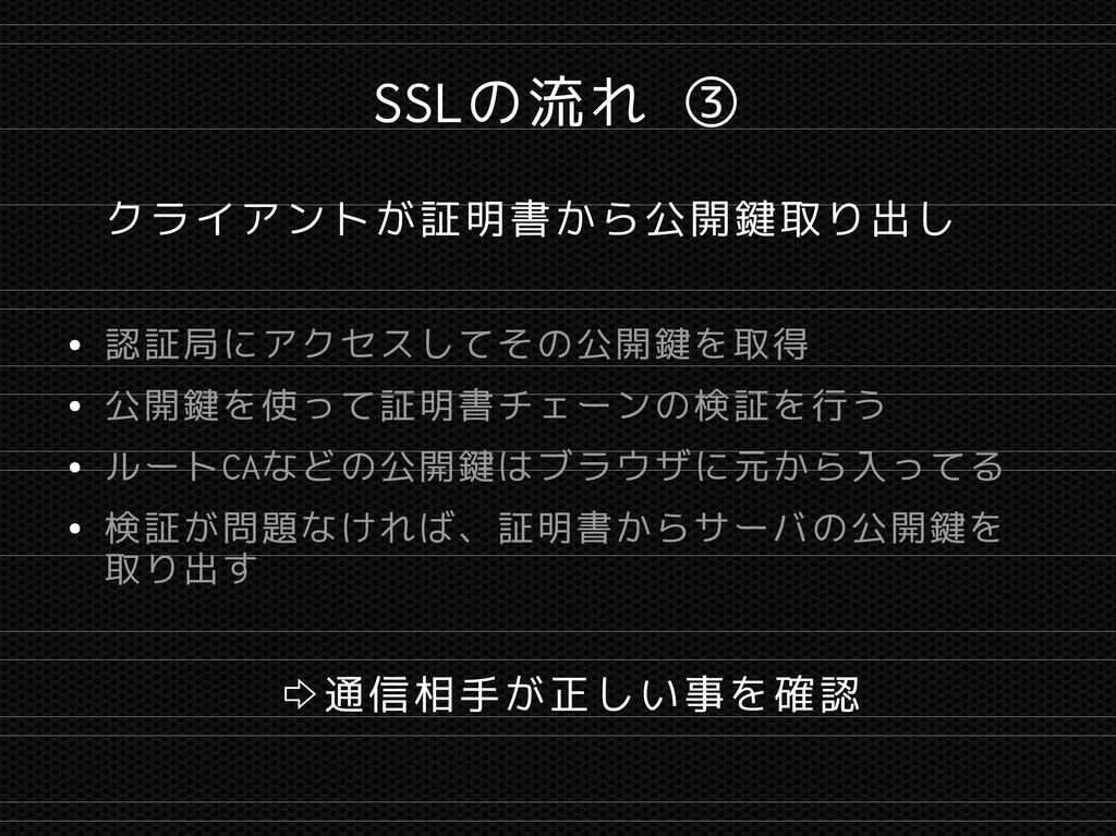 SSLの流れ ③ クライアントが証明書から公開鍵取り出し ● 認証局にアクセスしてその公開鍵を...