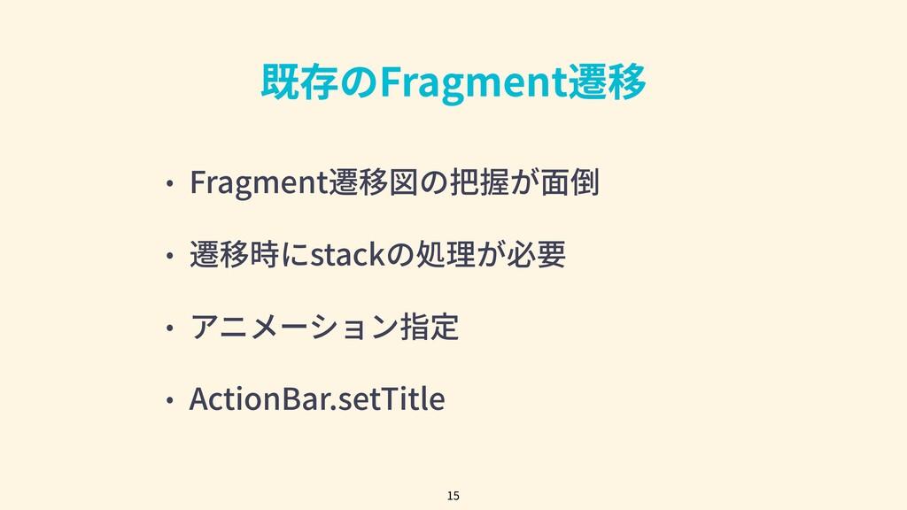 既存のFragment遷移 • Fragment遷移図の把握が⾯倒 • 遷移時にstackの処...