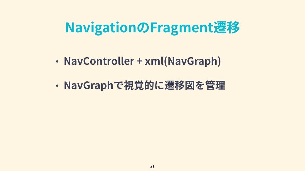 NavigationのFragment遷移 • NavController + xml(Nav...