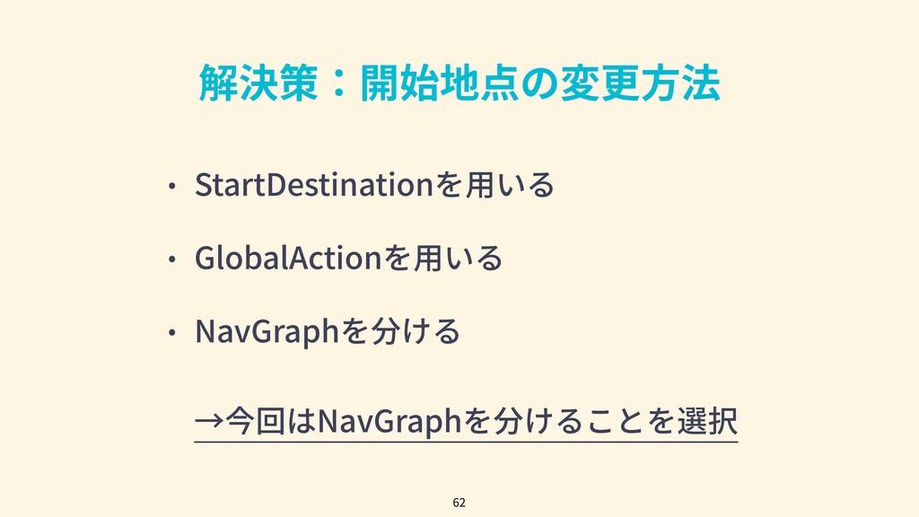 解決策:開始地点の変更⽅法 • StartDestinationを⽤いる • GlobalAc...