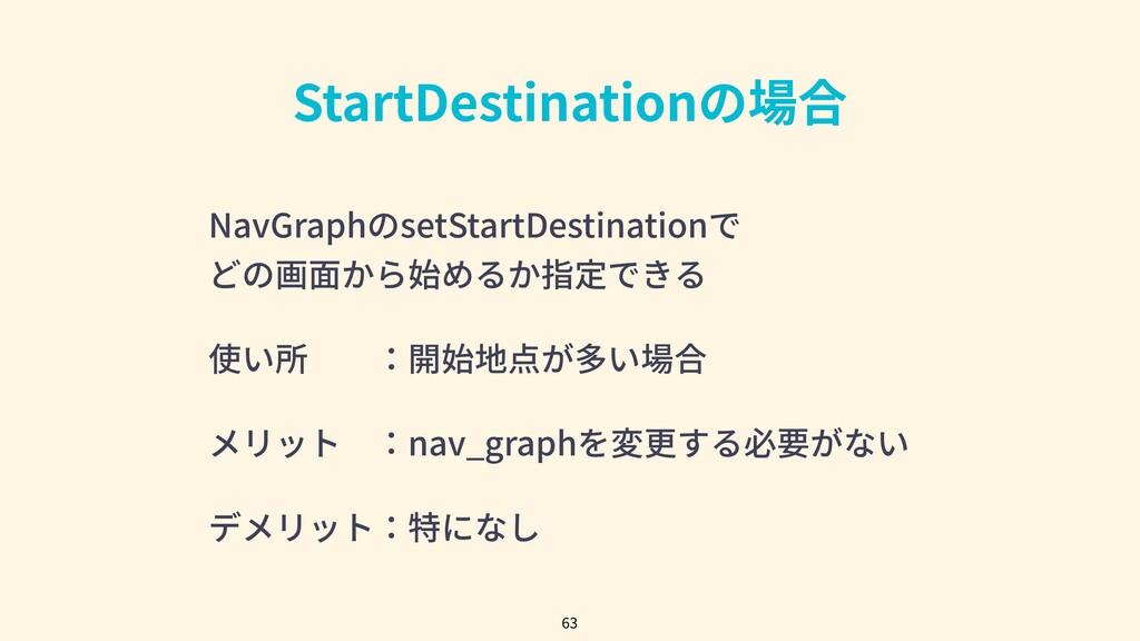 StartDestinationの場合 63 NavGraphのsetStartDestina...