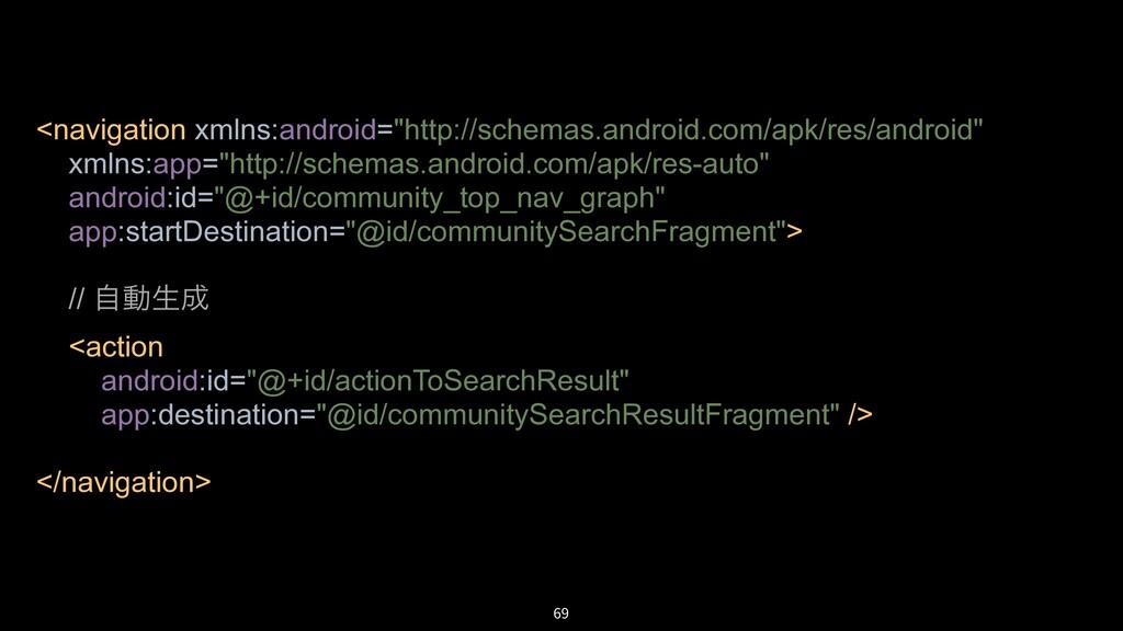 """69 <navigation xmlns:android=""""http://schemas.an..."""