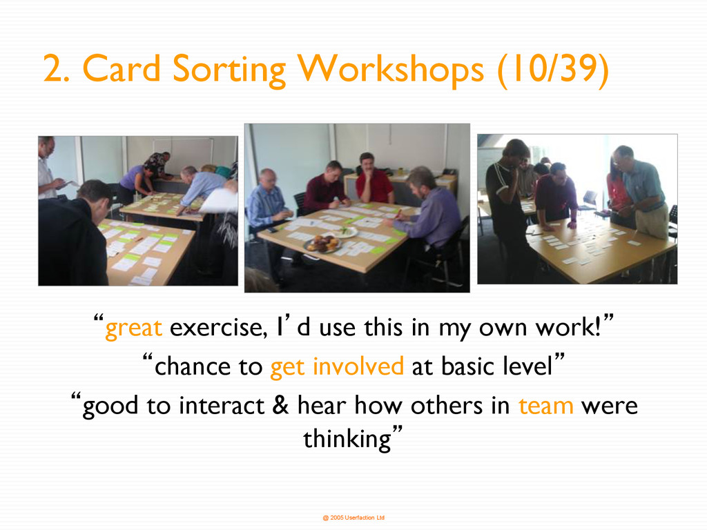 @ 2005 Userfaction Ltd 2. Card Sorting Workshop...