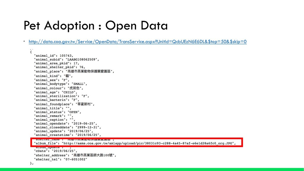 Pet Adoption : Open Data • http://data.coa.gov....
