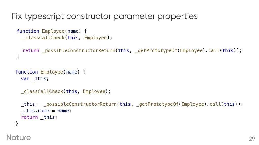 Fix typescript constructor parameter properties...