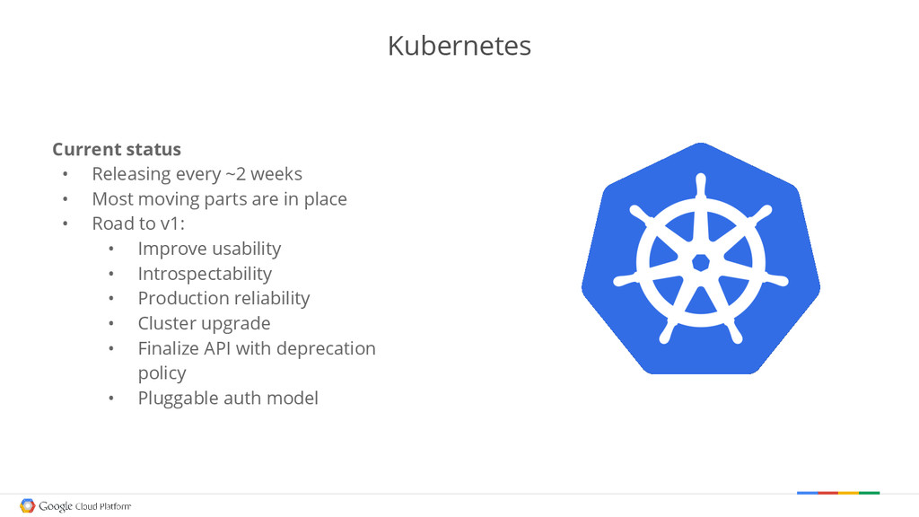 Kubernetes Current status • Releasing every ~2 ...
