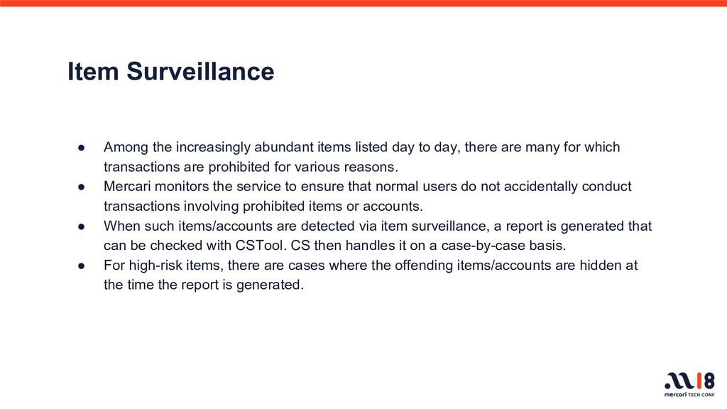 Item Surveillance ● Among the increasingly abun...