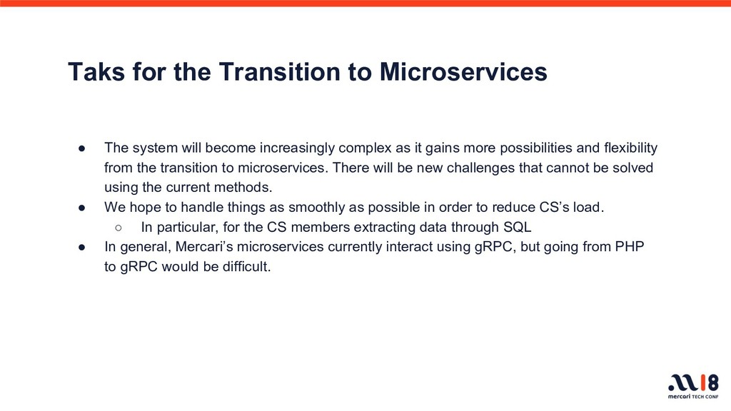 Taks for the Transition to Microservices ● The ...