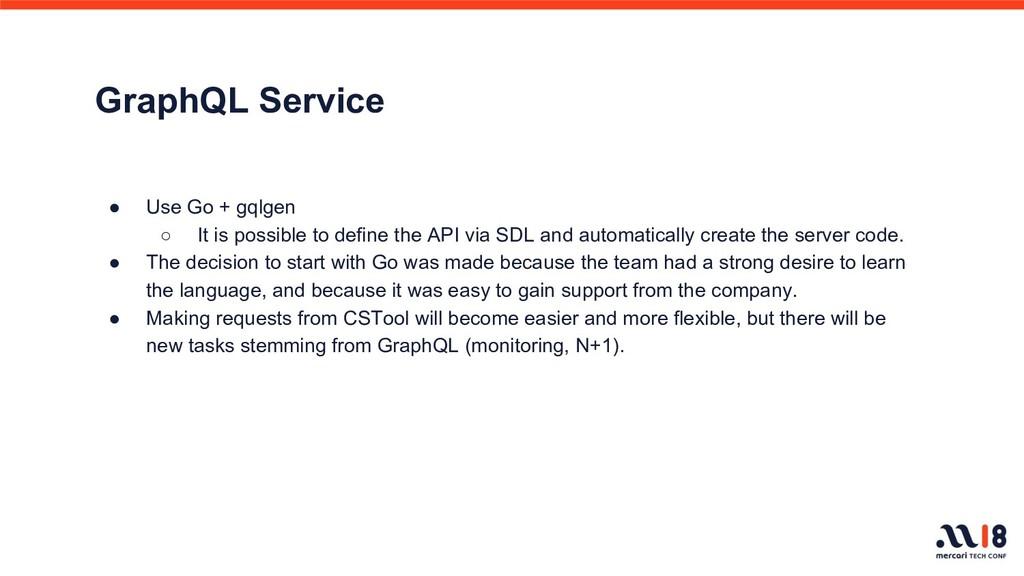 GraphQL Service ● Use Go + gqlgen ○ It is possi...